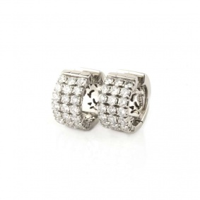 18k White Gold Diamond Set Hoop Earrings 2.10ct